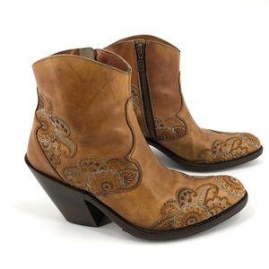 Dan Post heeled cowgirl leather booties 7.5